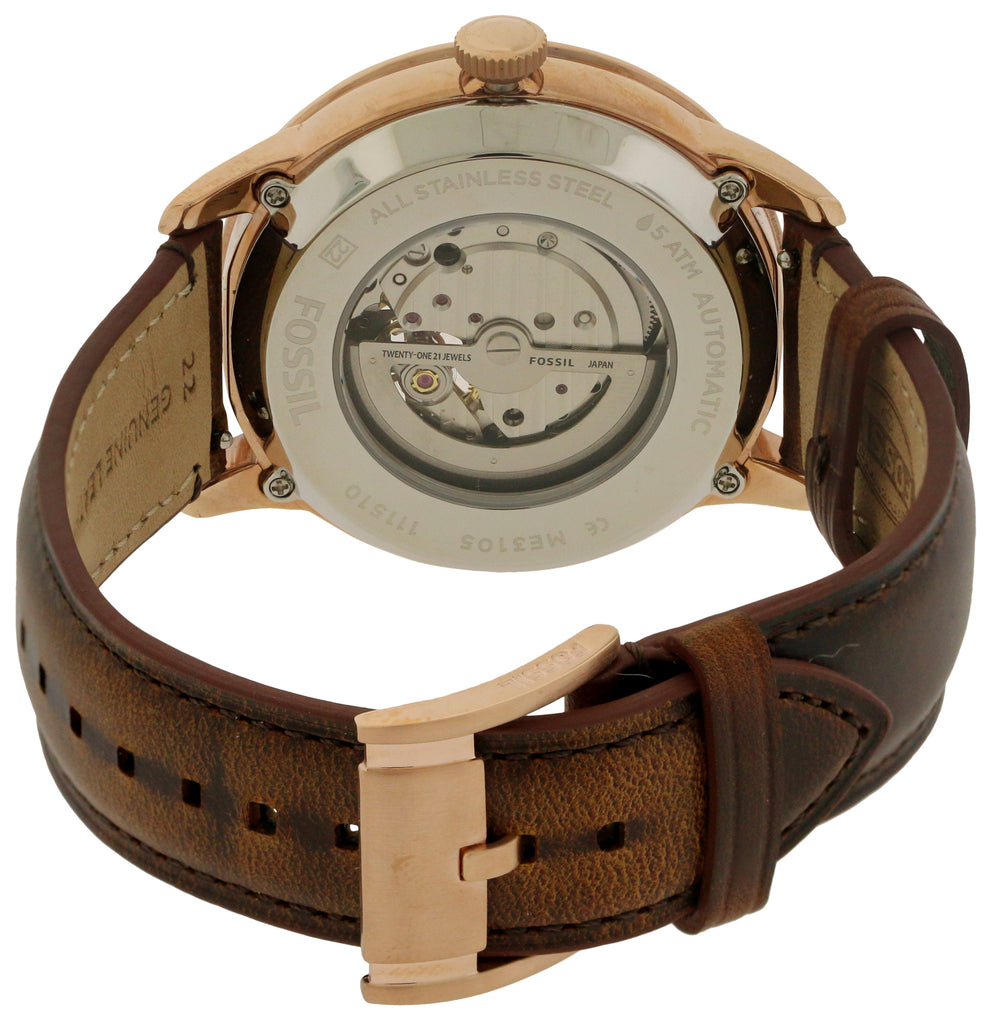 Fossil Townsman Rose Gold-Tone Leather Mens Watch