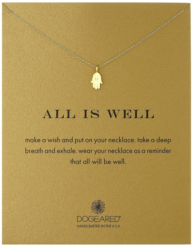 Dogeared Gold Dipped All Is Well Hamsa Necklace -
