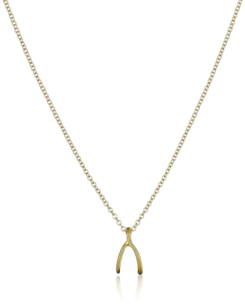 Dogeared Reminder Wishbone Gold Chain Necklace -