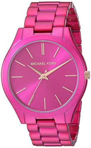Michael Kors Slim Runway Pink Stainless Steel Ladies Watch