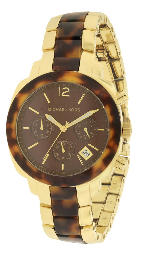 Michael Kors Wolcott Tortoise Acetate Gold-Tone Ladies Watch