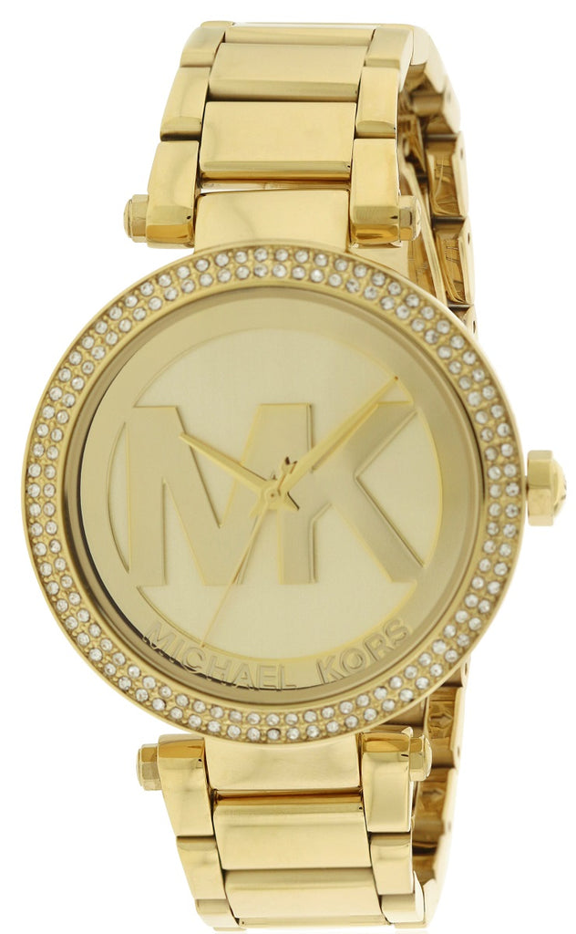 Michael Kors Parker Logo Glitz Gold-Tone Ladies Watch