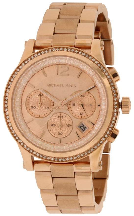 Michael Kors (Open Box) Heidi Crystal Rose Gold-Tone Chronograph Ladies Watch MK6064