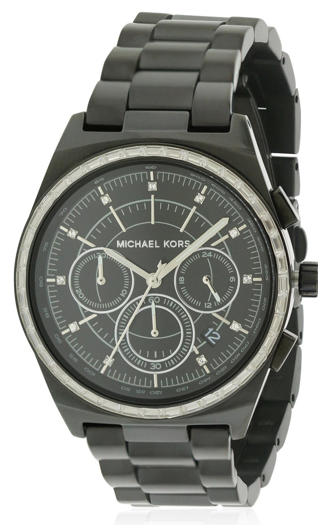 Michael Kors Vail Black IP Chronograph Ladies Watch