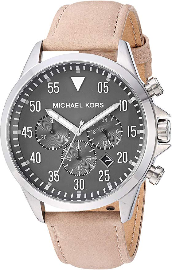 Michael Kors Gage Taupe Leather Mens Watch