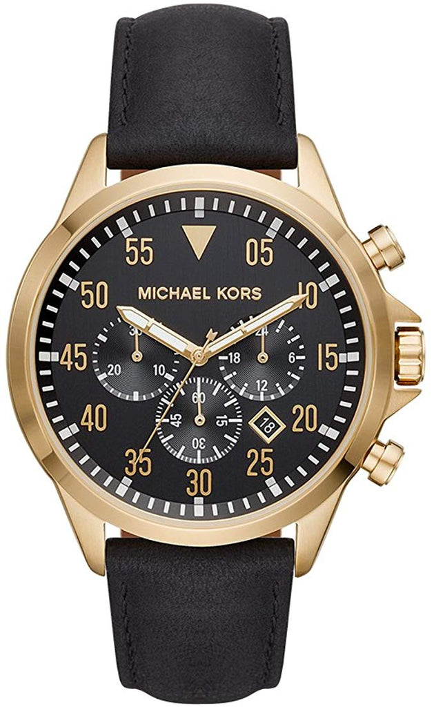 Michael Kors Gage Black Leather Mens Watch