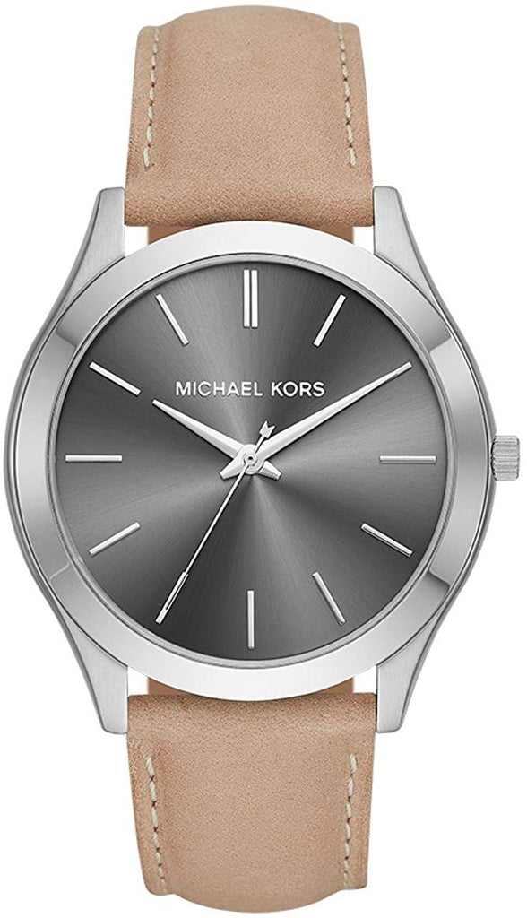 Michael Kors Slim Runway Brown Leather Mens Watch