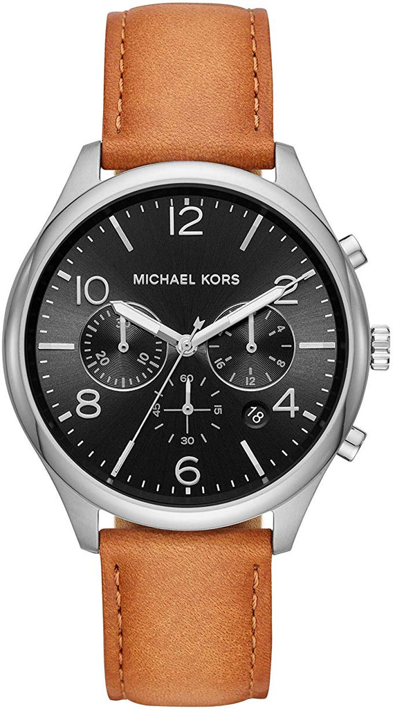 Michael Kors Merrick Chronograph Brown Leather Mens Watch