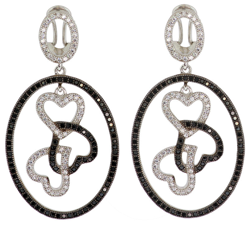 925 Sterling Silver Micro Pave Black & White CZ Earrings -