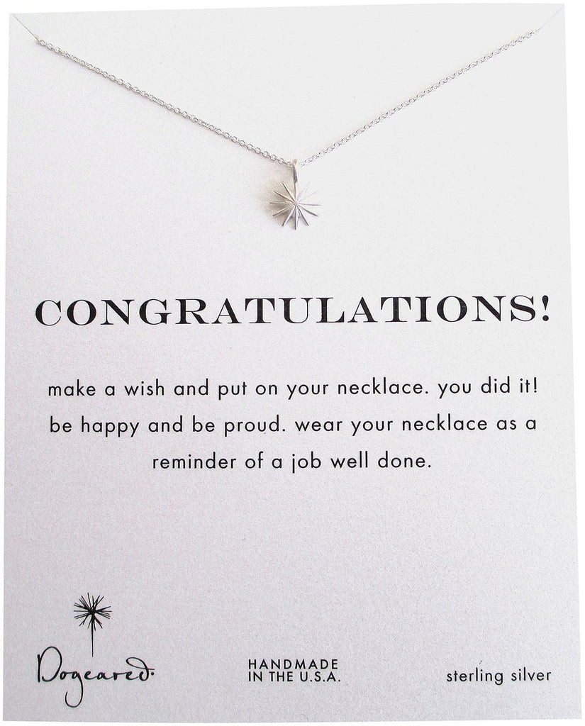 Dogeared Congratulations Sterling Silver Starburst Reminder Boxed Necklace -