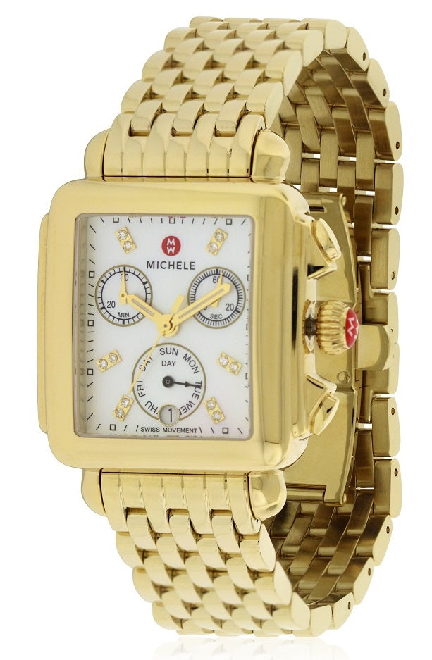 Michele Deco Day Diamond Dial Gold Ladies Watch