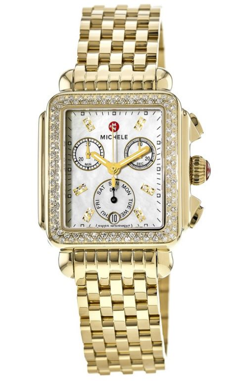 Michele Deco Day Gold-Tone Diamond Ladies Watch