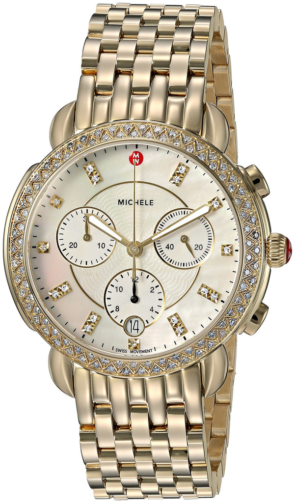 Michele Sidney Chronograph Diamond Gold-Tone Ladies Watch