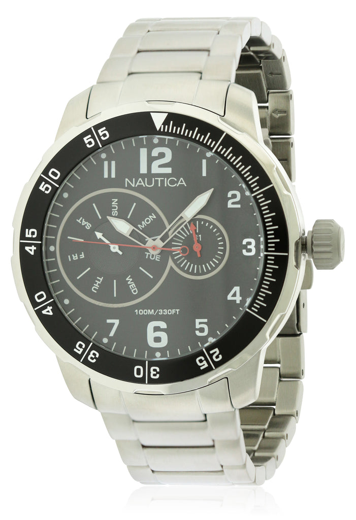 Nautica Stainless Steel Multifunction Mens Watch