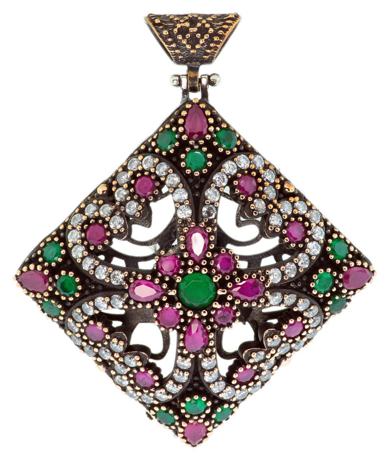 925 Sterling Silver Diamond Shaped Otantik Vintage Ruby And Emerald Cubic Zirconia Pendant -