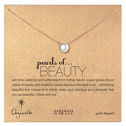 Dogeared Large Pearls of Beauty White Pearl Gold Dipped Necklace -
