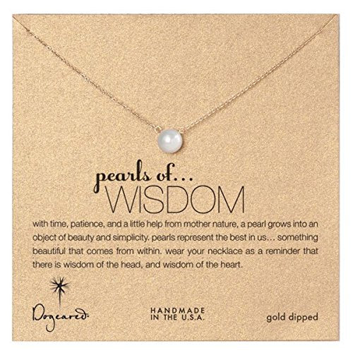Dogeared Large Pearls of Wisdom White Pearl Gold Dipped Necklace -