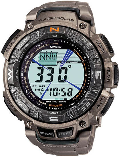 Casio Triple Sensor Solar Pathfinder Titanium Mens Watch