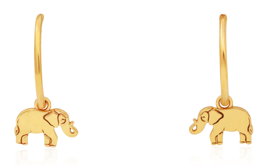 Alex And Ani Elephant Hoop Earring - 14KT Gold Plated -