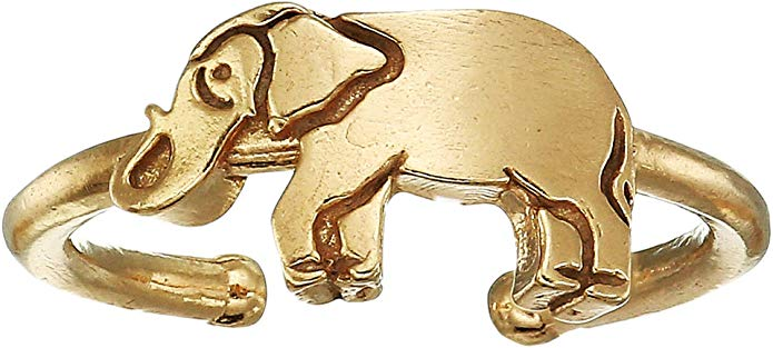 Alex And Ani Elephant Adjustable Ring - 14KT Gold Plated -