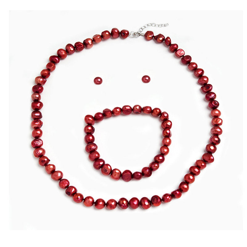 Genuine Fresh Water Pearls Earring Necklace Set - Cherry -