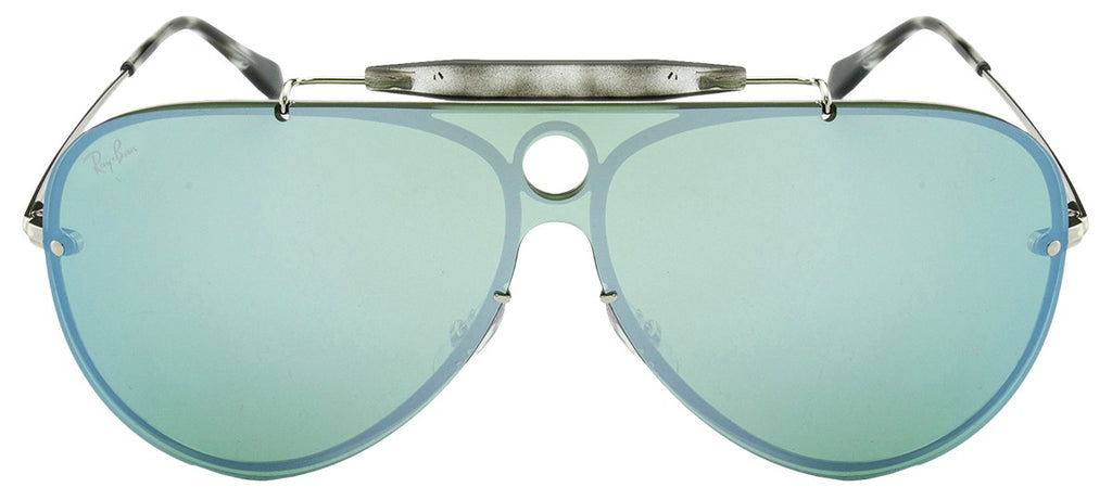 Ray Ban Blaze Shooter Dark Green/Silver Mirror Aviator Sunglasses