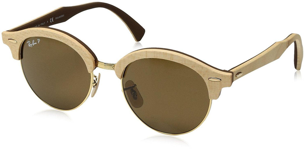 Ray-Ban Wood Polarized Round Gold Sunglasses -