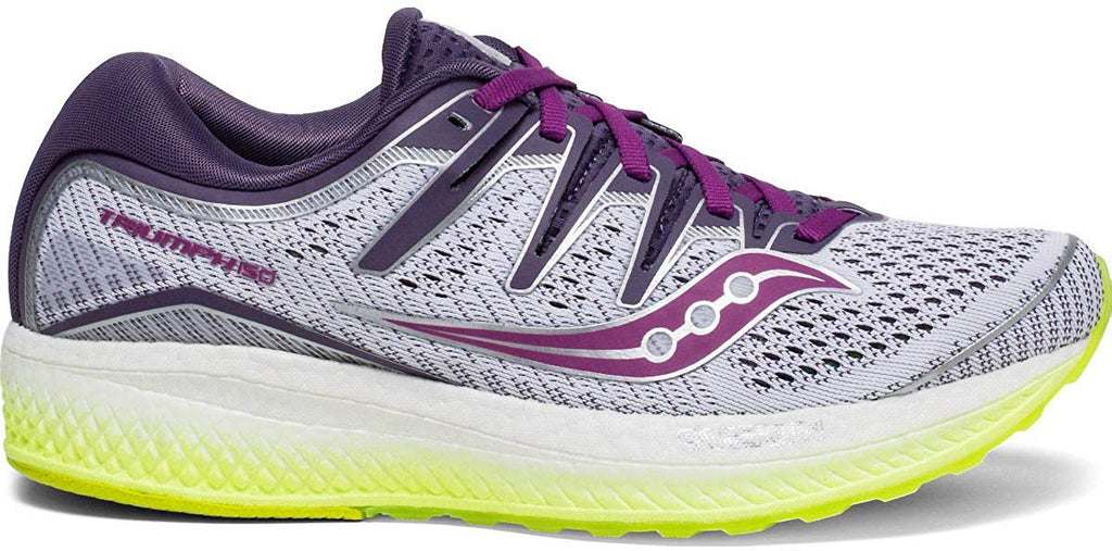 Saucony Triumph ISO 5 Women 6 Running Shoe - White/Purple/Citron - Size 6