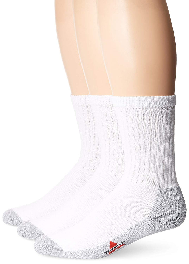 Wigwam Mens At Work 3-Pack Crew Socks - White - MD