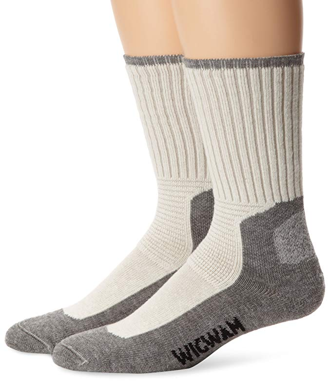 Wigwam Mens At Work DuraSole Work 2-Pack Crew Length Work Socks - White - LG