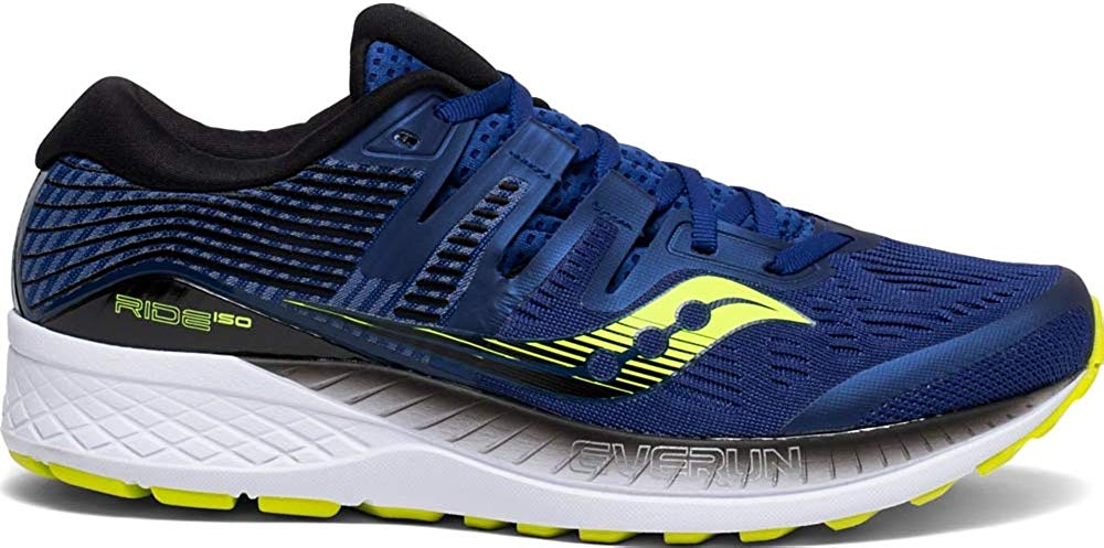 Saucony Mens Ride ISO Neutral Running Shoe Sneakers - Navy/Citron - Size 11.5