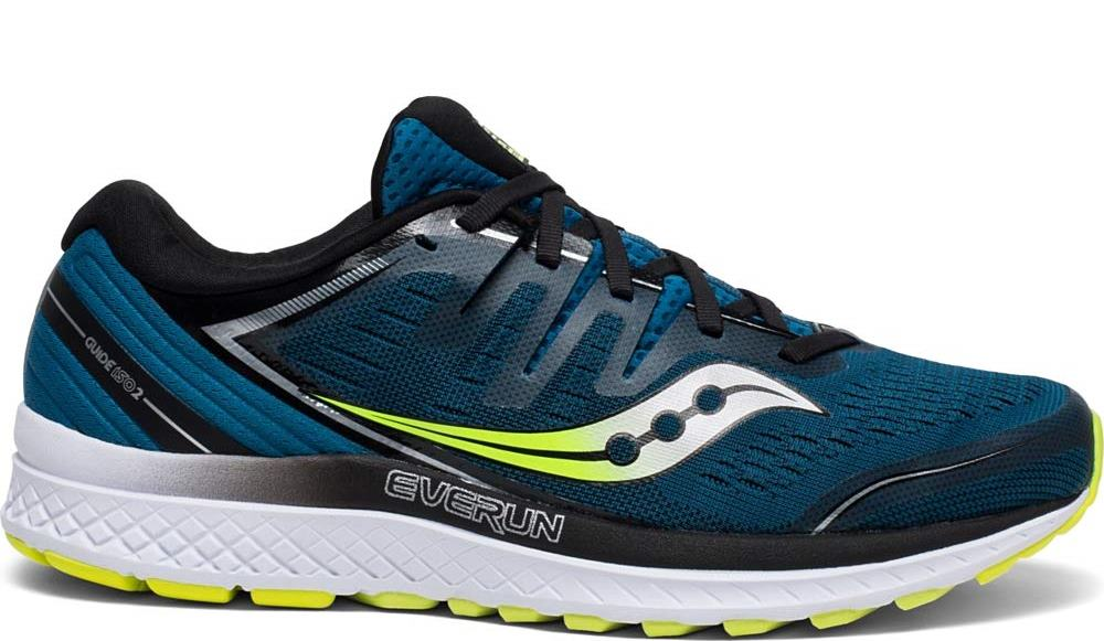 Saucony Mens Guide ISO 2 Road Running Shoe Sneaker - Marine/Citron - 9