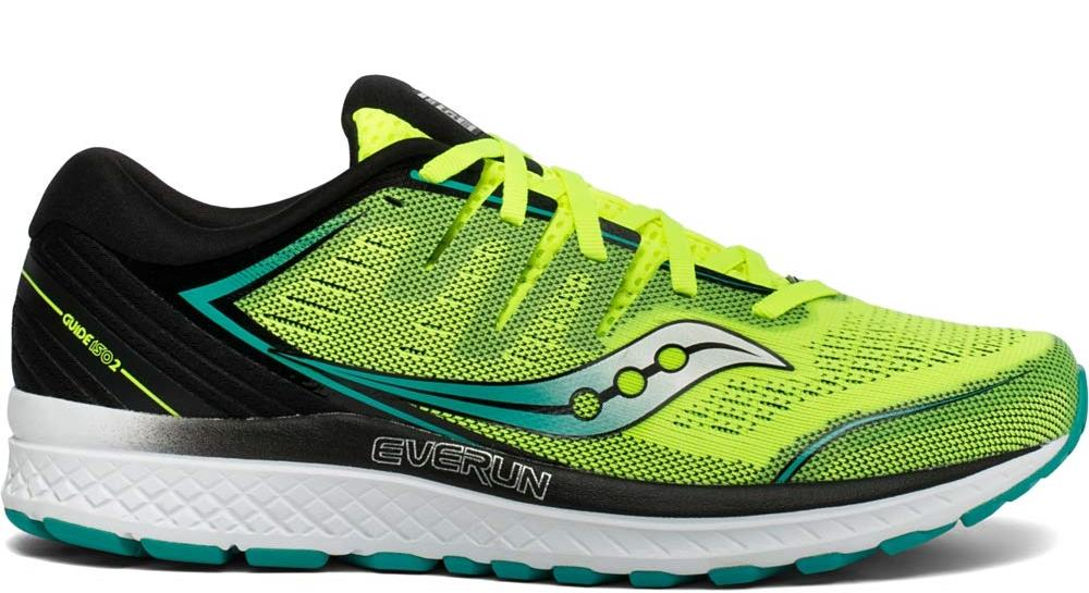 Saucony Mens Guide ISO 2 Road Running Shoe Sneaker - Citron/Black - 9.5