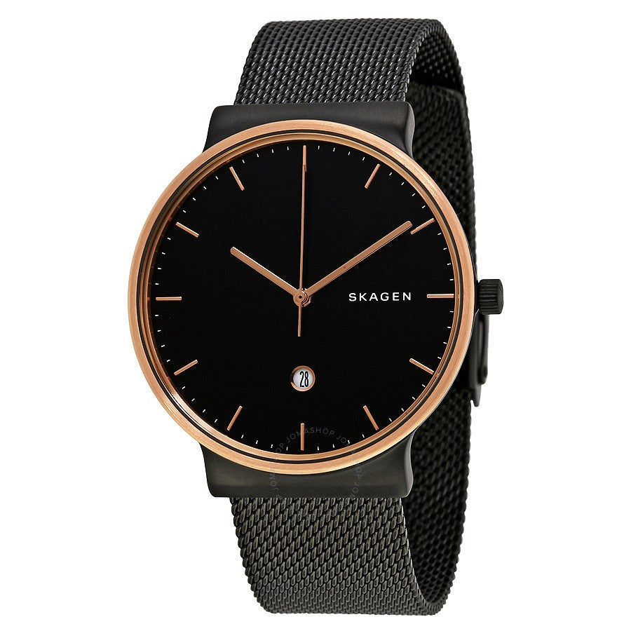 Skagen Ancher Black Stainless Steel Mens Watch