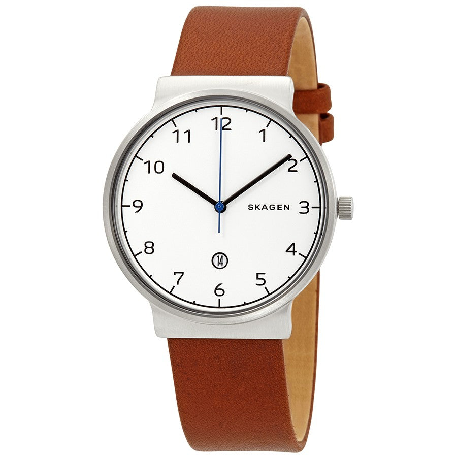 Skagen Ancher Cognac Leather Mens Watch