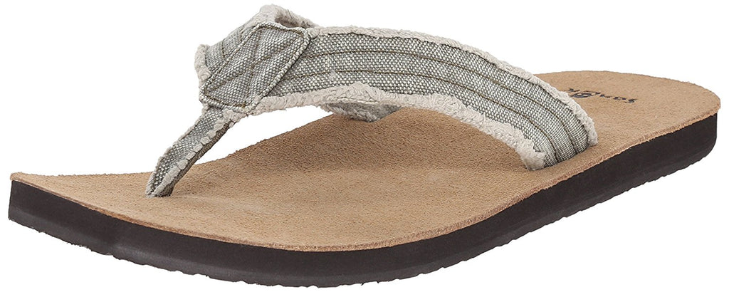 Sanuk Mens Fraid Not Flip Flop - Olive - 9 M US -