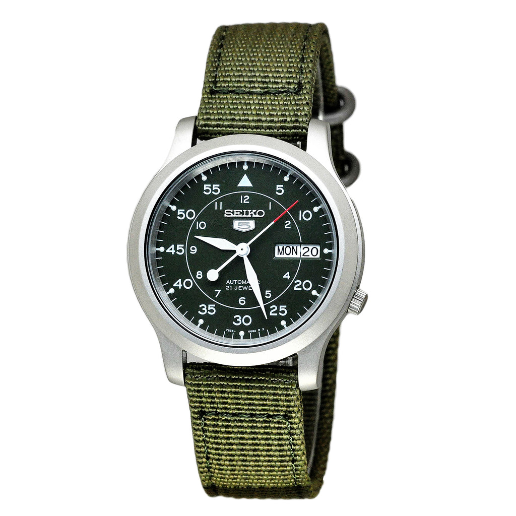 Seiko 5 Military Green Canvas Automatic Mens Watch