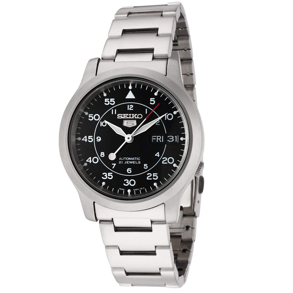 Seiko 5 Black Automatic Mens Watch SNK809