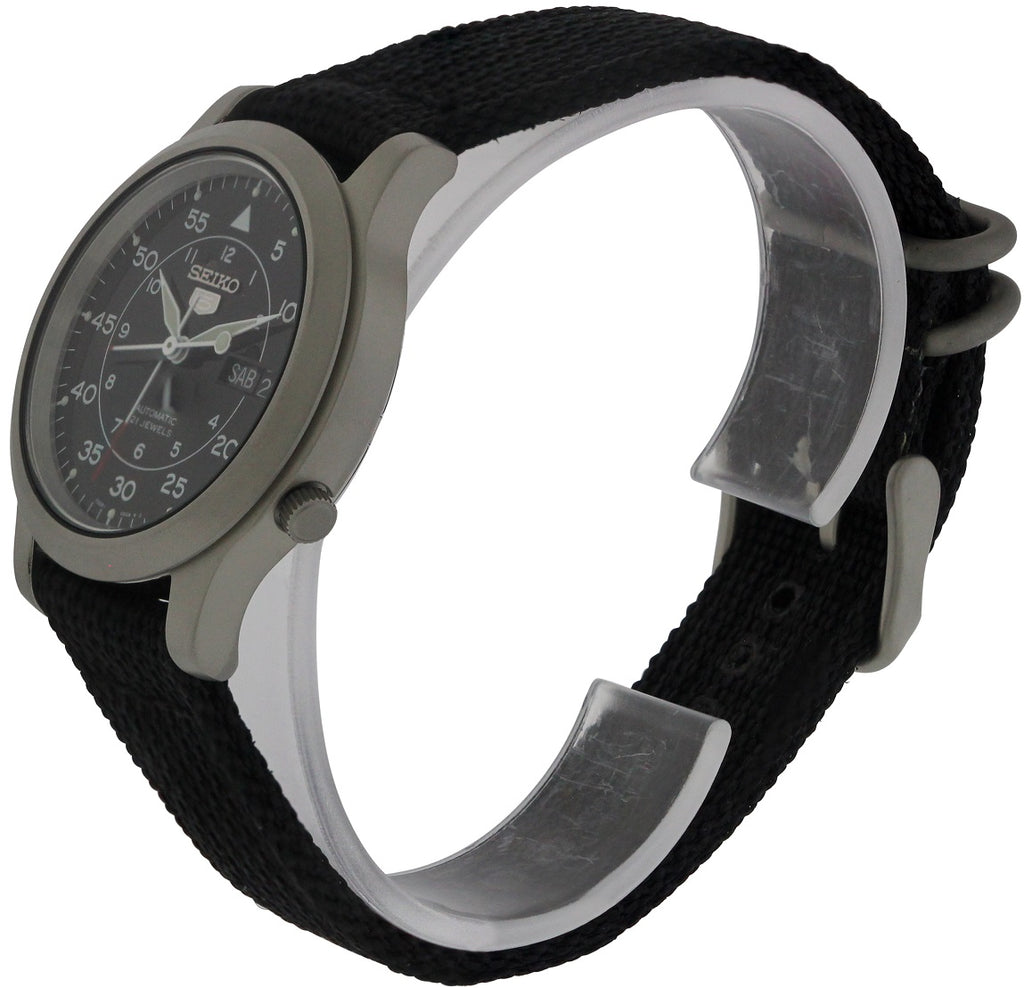 Seiko 5 Black Canvas Automatic Mens Watch