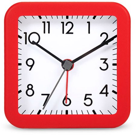 Square Quartz Analog Alarm Clock with Red Case -