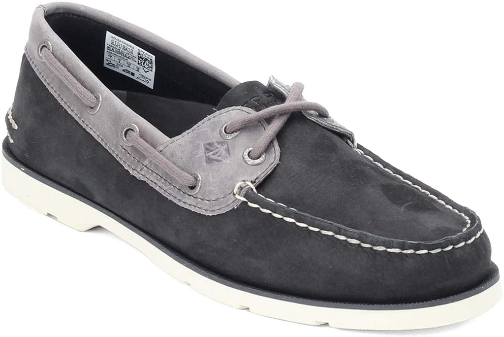 Sperry Mens Top-Sider Leeward Nubuck Boat Shoe - Black Nubuck - 12