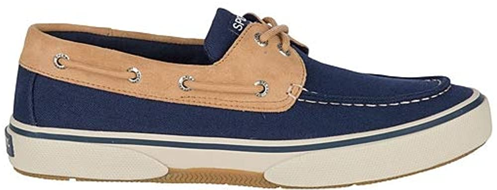 Sperry Mens Halyard 2-Eye Canvas Boat Shoe - Navy/Tan - 9