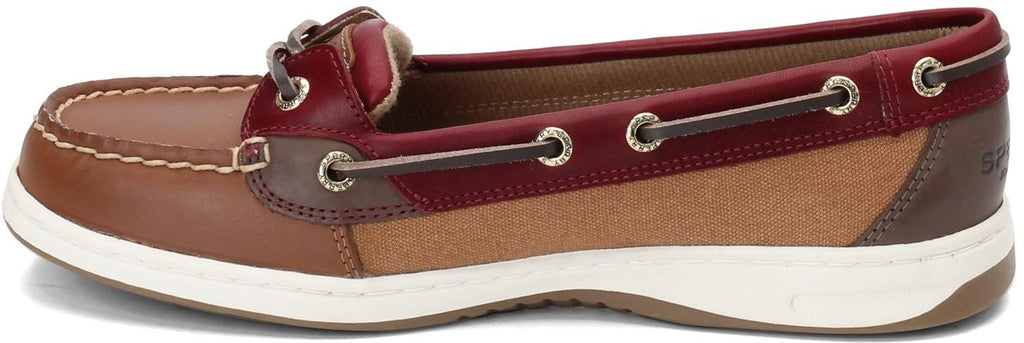 Sperry Womens Angelfish Varsity Boat Shoe -  Tan/Wine - 7