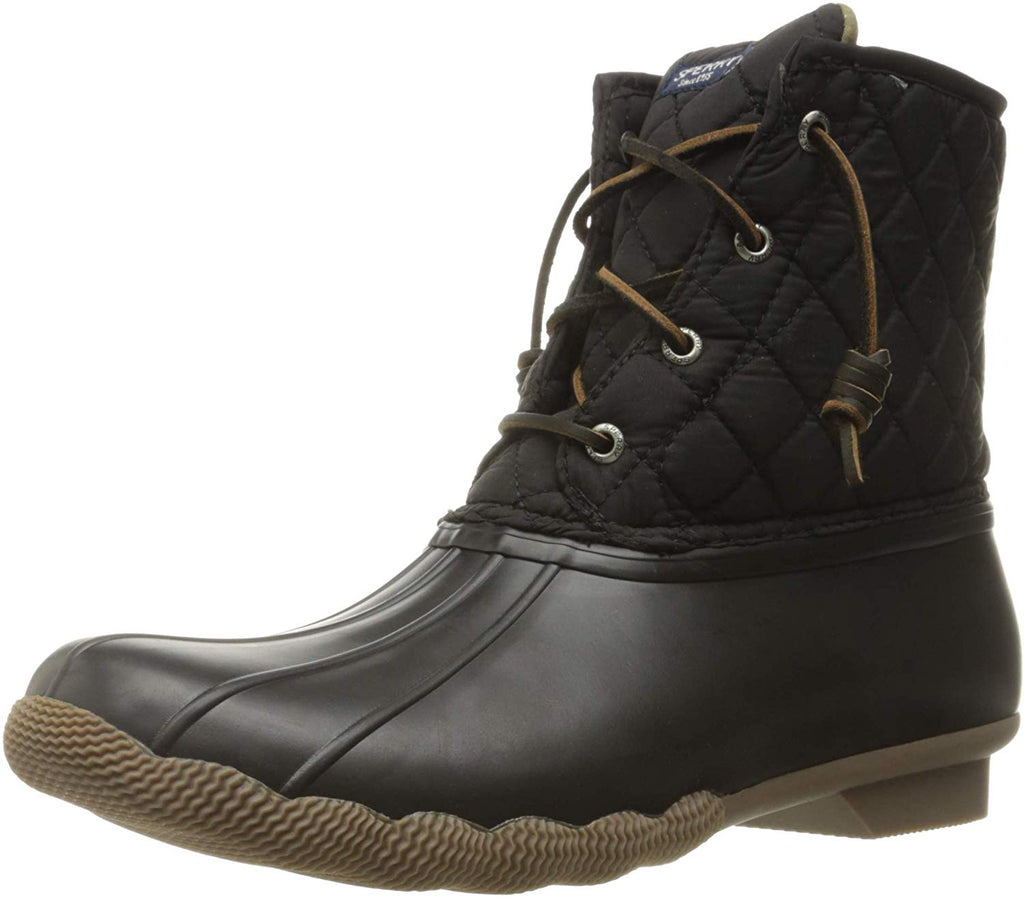 Sperry Womens Saltwater Boots - Black Quilted Nylon - 5
