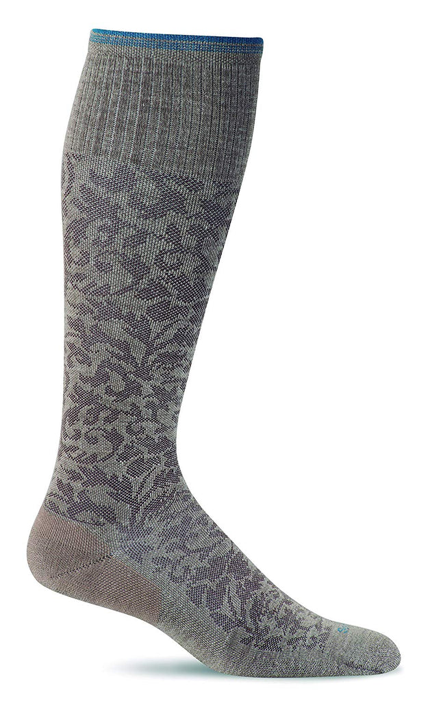 Sockwell Womens Damask Moderate Graduated Compression Socks - Khaki - Small/Medium