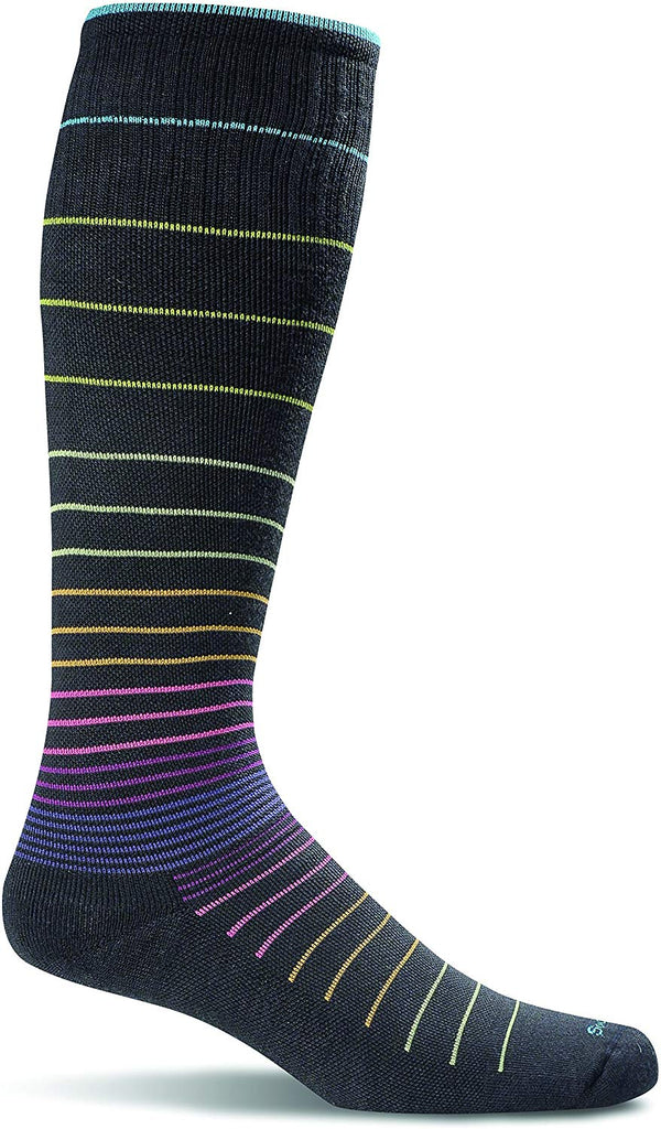 Sockwell Womens Circulator Graduated Compression Socks - Small/Medium (4-7.5) - Black Stripe