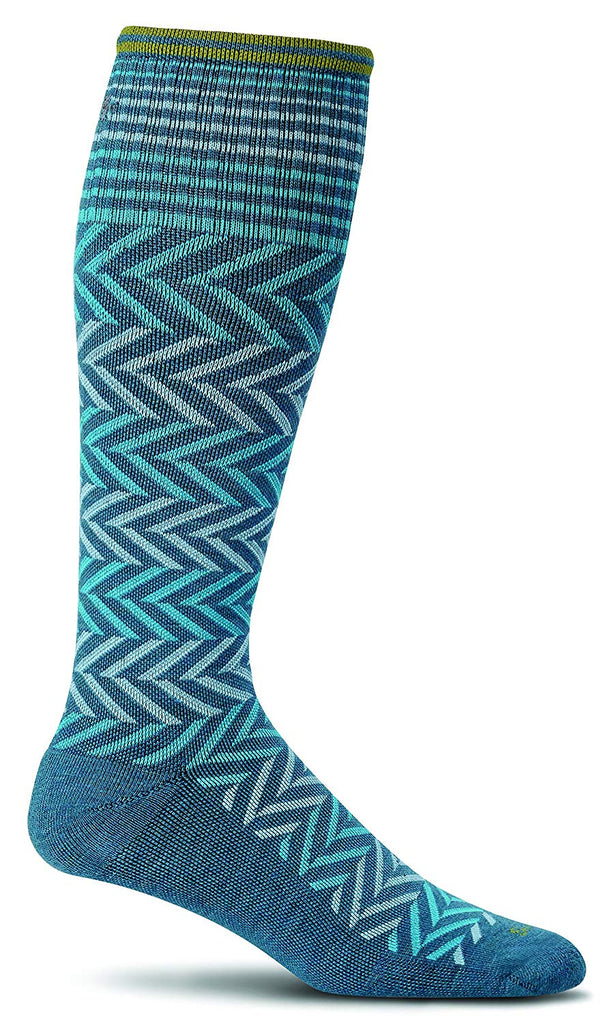 Sockwell Womens Chevron Graduated Compression Socks - Teal - Small/Medium