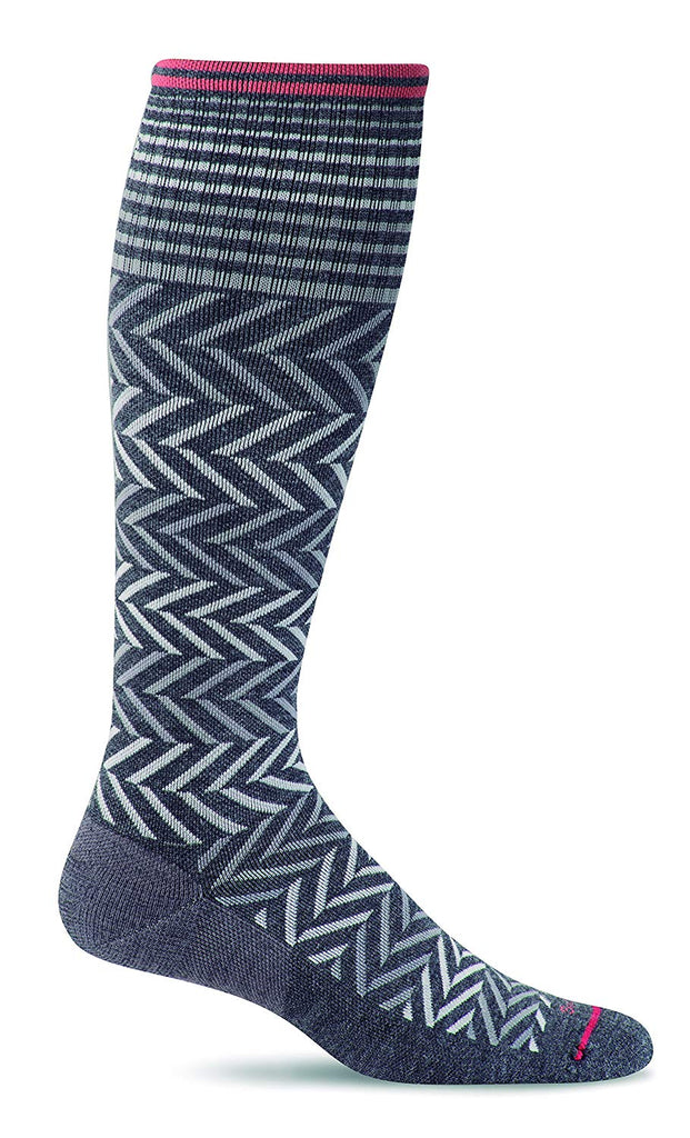 Sockwell Womens Chevron Graduated Compression Socks - Charcoal - Small/Medium