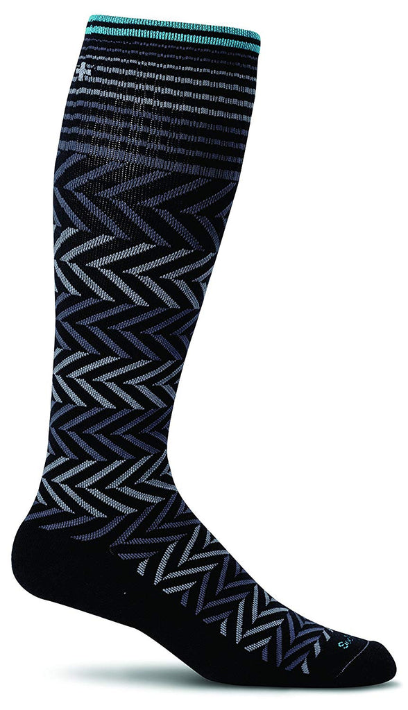 Sockwell Womens Chevron Graduated Compression Socks - Black - Small/Medium