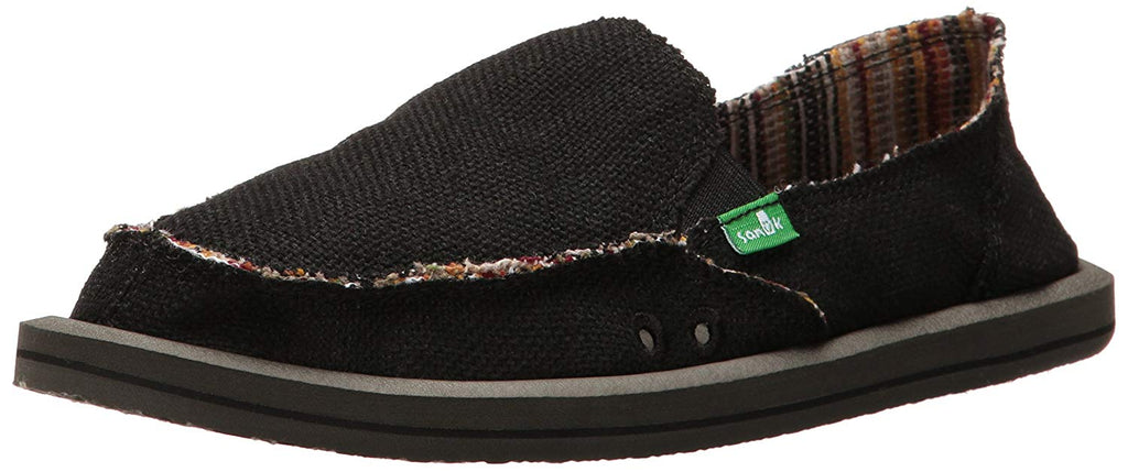 Sanuk Womens Donna Hemp Flat - Black - 6 M US -